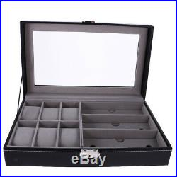 1/2/5/6/9/10/12 Grid Slots Leather Watch Storage Display Box Case Wooden Jewelry