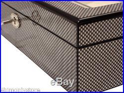 10 Large Wrist Watches Jewellery Carbon Fibre Wood Display Storage Case Box