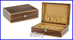 10 Walnut Wood Wrist Watch Jewellery Display Lockable Storage Wooden Case Box