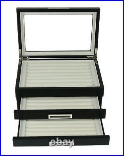 108 sets Black Wooden Cufflink Display Box Ring Tie Clip Storage Case Organizer