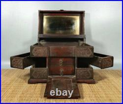 12'' Chinese Antique Wood Box natural Old Mahogany Box Jewelry Box mirror
