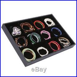 12 Grids Velvet Jewelry Bracelet Bangle Watch Display Tray Storage Case Box