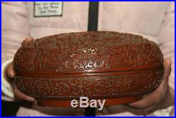 12Rare Old Chinese Collection Lacquer Wood Hand-carved Wood Jewelry Box Pot