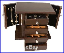 13 Jewelry Box Cabinet Dresser Top Amish Crafted Solid Oak Wood Mission Style