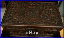 16 China old Huang Huali Wood carving Dragon Beast Storage Jewelry Box Statue
