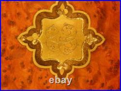 1800s French Napoleon Brass Cartouche Burl Wood Inlay Jewelry Dresser Vanity Box