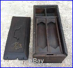 1850's ANTIQUE HANDCRAFTED WOODEN UNIQUE JEWELLERY/PEN-PENCIL BOX BRASS FITTING