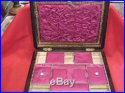 1850's WALNUT TUNBRIDGE WARE LADIES TRAVEL COMPANION SLOPE & JEWELLERY BOX