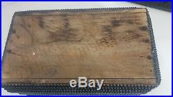 1900s ANTIQUE HAND CARVED WOOD TRAMP FOLK ART JEWELLERY, CIGAR, VINTAGE SEWING BOX