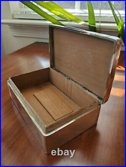 1925 Birmingham Sterling Silver Cigarette Case Jewelry Box Wood Lined Mono L
