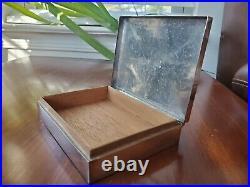 1928 Birmingham Sterling Silver Cigarette Case Jewelry Dresser Box Wood Lined