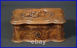 19c Antique Wooden Wood Carving Black Forest Jewelry Bob Casket Acorn Motif Lid