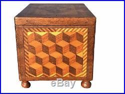 19th C Antique Parquetry Inlay Tea Caddy / Jewelry Box Impressive