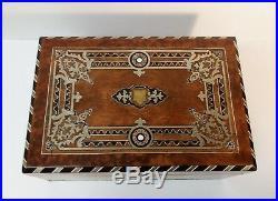 19th Century Sterling Silver Inlaid Jewelry / Keepsake Box, 1870-1880