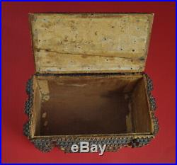 19th century Black Forest Carved Wood Jewelry Box Tramp Art Box (# 8709)