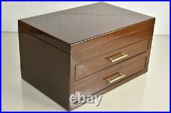 $250 NEW Reed & Barton Eastside Jewelry Box Chest Drawer Polished Walnut Wood