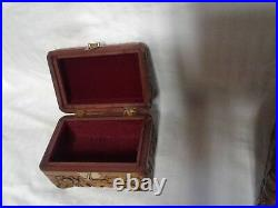 3-ANTIQUE WOOD WOODEN Jewelry BOX Treasure BOX CARVED/BIRDS/FLOWERS SCENE