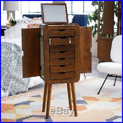 36 Brown Wood Mid Century Modern Freestanding Jewelry Armoire Box Cabinet