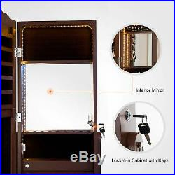 4 Drawers LED Mirrored Jewelry Cabinet Armoire Storage Organizer Floor Stand Box
