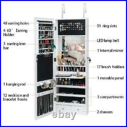 42.5 Mirrored Jewelry Cabinet Armoire Storage Organizer Wall Mounted White
