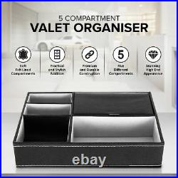 5 Compartment Leather Valet Tray Organiser Textured Wallet Jewellery Storage Box