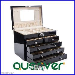 5 Layer Piano Finish Wooden Necklace Rings Storage Organiser Jewelry Box Black