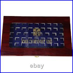 53 Hole HQ Cherry Wood Large Championship & Class Ring Display Case Clear Window