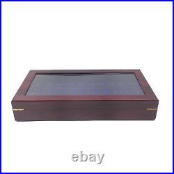 60 Hole Luxury Championship, Class, Large Ring Display Box Case Cherry Wine Wood