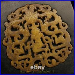 7.28 Collection Ebony Wood inlay gem Jade carved Dragon Jewelry Treasure box