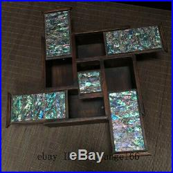 8 Chinese old antique Huanghuali wood inlay shell Jewelry Storage box