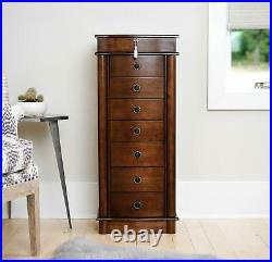 8-Drawer Wooden Jewelry Armoire Freestanding Lockable Mirrored Lid Walnut Finish