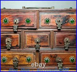 8 Old China Huanghuali Wood inlay Gems Dynasty 7 Drawer Jewelry Box Storage box