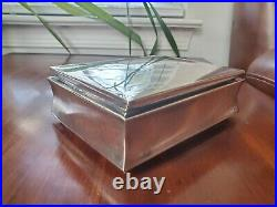 925 Sterling Silver Cigarette Case Jewelry Dresser Box Wood Lined No Monogram