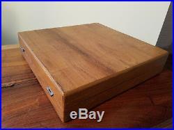 #979 Ruby Jewelry Golden Brass Wood Handle 29 Pc Flatware Set &Wood Box Thailand