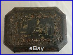 A Chinese Export Black Lacquer Jewelry Treasure Box with golden painting