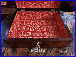 A NICELY RESTORED JEWELLERY BOX, MEDALS, WATCHES etc. BRASS INLAYS. LOCKING