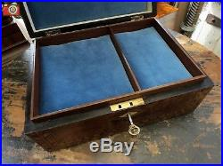 A NICELY RESTORED VICTORIAN TUNBRIDGE BOX, JEWELLERY, DOCUMENTS, MEDALS etc