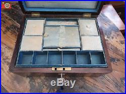 A Nice Original Victorian Jewellery Or Work Box, Unrestored. Good Condition