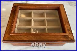 AGRESTI Briarwood Burl-Wood 2 Drawer Glass Lid Jewelry Box. Florence Italy