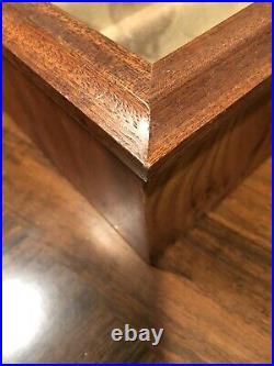 AGRESTI Briarwood Burl-Wood 2 Drawer Glass Lid Jewelry Box Florence Italy