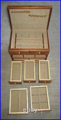AGRESTI Burl-wood Briarwood Jewelry Box Italy burl 5 drawer large brass