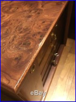 AGRESTI Italian Briarwood 5 Drawer Suede Lined Jewelry Box With Jewelry