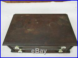 AMAZING Primitive Antique Wood Box 2 Drawers Recipe, Jewelry, Trinket, Spice