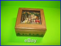 ANRI Vintage Christmas Gnome 3-D Wood Music Jewelry Box Lift Lid Edelweiss Nice