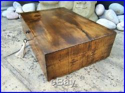 ANTIQUE 18c PEACH WOOD DOCUMENT/JEWELLERY BOX WONDERFUL INTERIOR