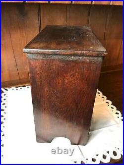 ANTIQUE 19th C. MINATURE WALNUT JEWELRY BOX CHEST