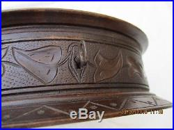 ANTIQUE BLACK FOREST WOOD CARVED JEWELRY TRINKET BOX SILK INTERIOR WITH KEY 19th