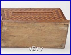 ANTIQUE Chip Carved Parquet Tramp Art Jewelry Document Casket Box 19Th C