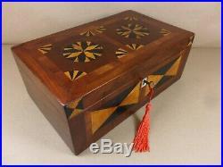 ANTIQUE GEORGE III MAHOGANY & CHERRY WOOD JEWELLERY/SEWING BOX. C1790 (Cd 508)