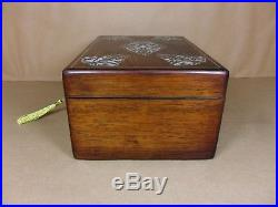 ANTIQUE GEORGE IV FIGURED ROSEWOOD JEWELLERY/SEWING BOX. C1830 (Code 484)